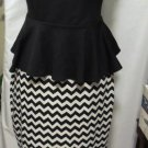 SYMPHONY SLEEVELESS BLK/WHT PEPLUM DRESS PLUS SIZE 1X, 2X, 3X