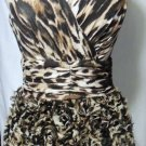 ALBERTO MAKALI MINI RUFFLED LEOPARD PRINT DRESS SIZE SM, MED