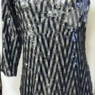 ALBERTO MAKALI ASYMMETRICAL SILVER & BLACK COCKTAIL DRESS SIZE 8, 10
