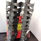 MACHI BLACK HIGH HEEL CAGED STUDDED KNEE-HIGH STRAPPY GLADIATOR SANDAL BOOTS SIZES; 6, 7, 8, 8.5