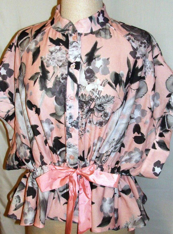 CQBYCQ PINK FLORAL TIE-WAIST TOP  SIZE SM, MED
