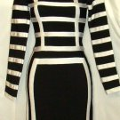 GRACIA LONG SLEEVE BLACK & WHITE BANDAGE DRESS SIZE, SM
