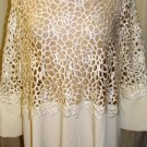 """GRACIA WHITE 3/4"""" SLEEVE LASER DESIGN CUTTING TOP SIZE, MED"""