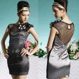 SILVER BLACK SHORT DRESS S03