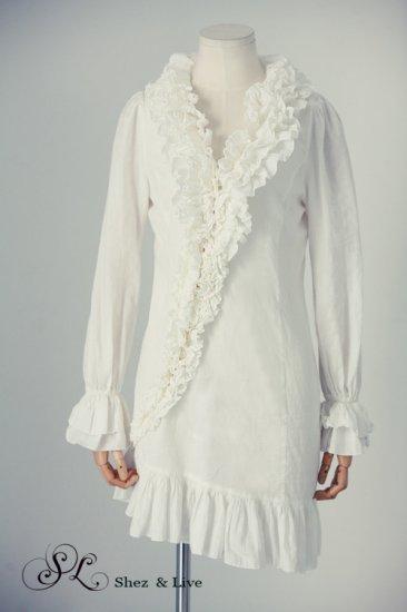 SH0030 - RUFFLES BODICE LONG SHIRT DRESS