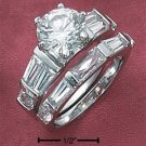 Cubic Zirconia Wedding Set 9mm Round Stone With Baguettes