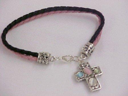 Cross Charm Bracelet With Stones
