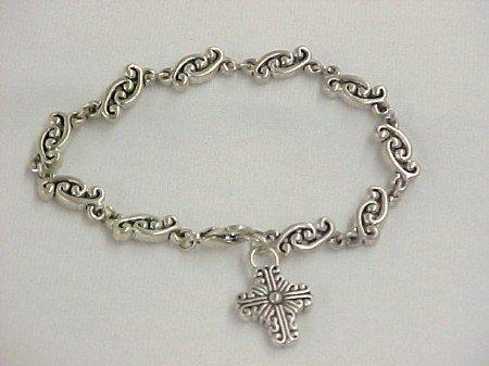 Silver Tone Cross Bracelet Clearance $2.00
