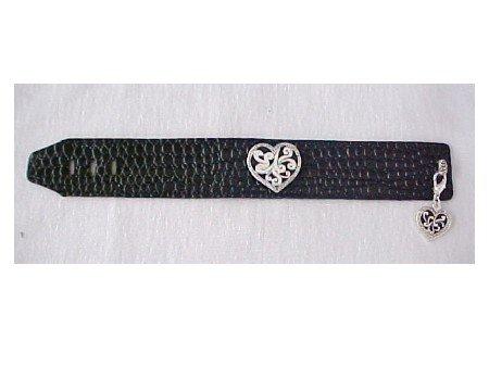 Black Slap Bracelet with Silver Heart