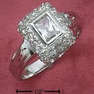 Sterling Silver Cubic Zirconia Emerald Cut Ring