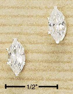 Cubic Zirconia Marquise Post Earrings