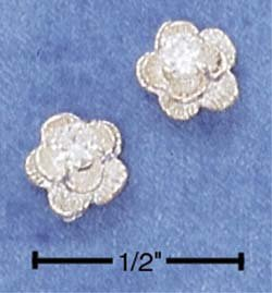 Flower Cubic Zirconia Earrings