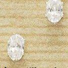Cubic Zirconia Oval Post Earrings