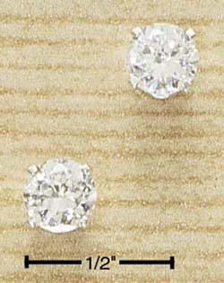 Cubic Zirconia Round Post Earrings