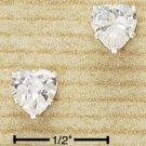 Cubic Zirconia 6mm Heart Shaped Post Earrings