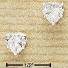 Cubic Zirconia 6mm Heart Shaped Post Earrings