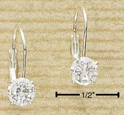 Cubic Zirconia Round Leverback Earrings