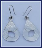 Sterling Silver Half Hammered Drop Earrings