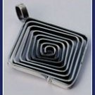 Sterling Silver Flat Labyrinth Square Pendant pey317