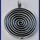 Sterling Silver Flat Labyrinth Circle Pendant Pey307
