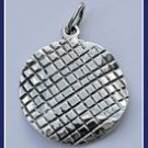 Sterling Silver Drawn into Squares Circle Pendant Pey268