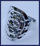 Sterling Silver Labyrinth in Hammered Circle Ring #152