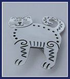 Sterling Silver Curved Tail Cat Brooch