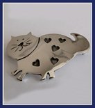 Sterling Silver Fat Cat and Hearts Brooch