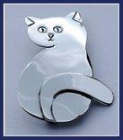Sterling Silver Sitting Cat Brooch
