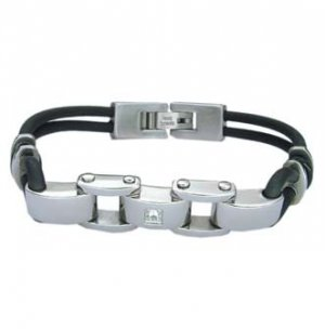 Stainless Steel Biker Bracelet With Rubber Accents