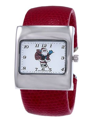 Red Cuff Watch w/Glitter Santa