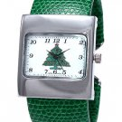 Green Cuff Watch w/Glitter Christmas Tree