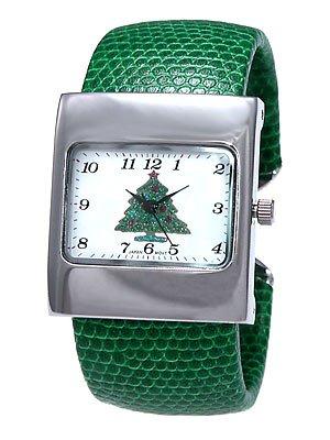 Green Cuff Watch w/Glitter Christmas Tree