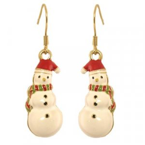 Snowman with Scarf on Gold Tone Hoop