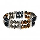 Dark Gold, Silver, and Hematite Tone Bracelets With CZ 45588
