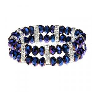 Blue Purple CrystallineCZs on Polished Silver Tone Accents Stretch Band Bracelet 45585