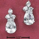 Cubic Zirconia Triple Round Stones Post Earrings 6MM Teardrop