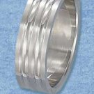 Stainless Steel High Polish Striped 7 mm Band