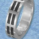 Stainless Steel High Polish with Black double Dash Pattern