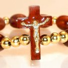 Crucifix Cherry Wood Decade Bracelet