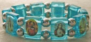 Saint Bracelet  in Clear, Blue or Pink Acrylic