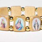 Tan Saints Bracelet with Gold Beads