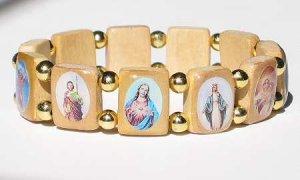 Tan Saints Bracelet with Gold Beads