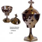 "Incense Burner Polished Brass 7""  5-20"