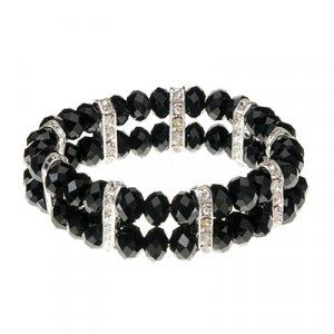Black Crystalline CZs on Polished Silver Tone Accents Stretch Band Bracelet 45580