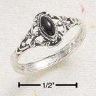 SR-221 : STERLING SILVER ELONGATED BLACK MARQUIS W/ SCROLL