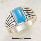 SR-268 : STERLING SILVER MEN'S RECTANGULAR TURQUOISE RING W/ STRIPED SHANK