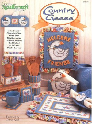 Country Geese Kitchen Set Plastic Canvas NEW