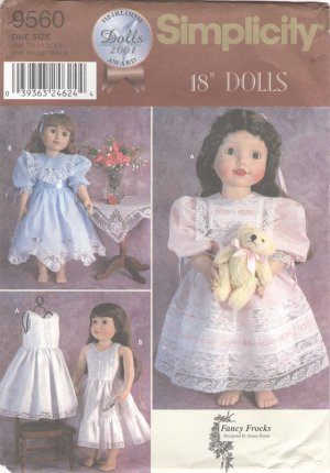 Heirloom Style Dresses, Fancy Frocks Magic Attic, American Girl, 18� Doll, Sewing Pattern 9560 NEW