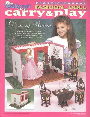 Barbie Fashion Doll Carry & Play Dining Room Plastic Canvas NEW